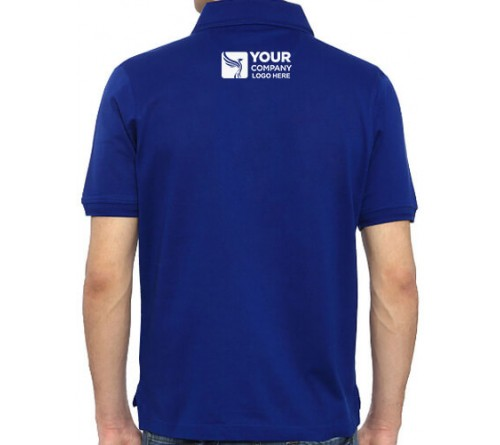 Embroidered Blended Fabric Polo T-Shirt Royal Blue